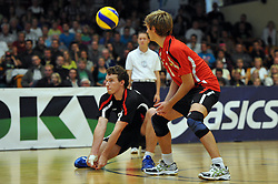 04.09.2010, Anhalt Arena, Dessau, GER, Vorbereitung Volleyball WM 2010, Laenderspiel Deutschland ( GER ) vs. Russland ( RUS ) 1:3, im Bild Denis Kaliberda (#6 GER), Ferdinand Tille (#12 GER). EXPA Pictures © 2010, PhotoCredit: EXPA/ nph/   Conny Kurth+++++ ATTENTION - OUT OF GER +++++
