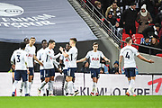 Totten Hotspur players celebrate Tottenham Hotspur Midfielder Erik Lamela's (11) goal (2-0) during the The FA Cup 4th round replay match between Tottenham Hotspur and Newport County at Wembley Stadium, London, England on 7 February 2018. Picture by Stephen Wright.