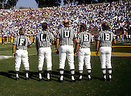PASADENA, CA- UNDATED:  College officials line up for the National Anthem spelling FLURB prior to a game at the Rose Bowl in Pasadena, California.  (Photo by Ron Vesely)