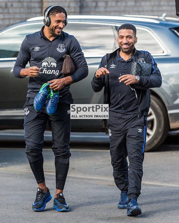 Everton defender Ashley Williams (5) and Everton midfielder Aaron Lennon (12) arrive at Turf Moor for the Premier League match between Burnley and Everton<br /> <br /> (c) John Baguley | SportPix.org.uk