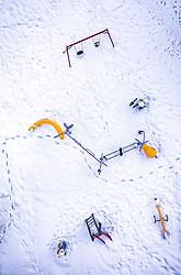 THEMENBILD - ein Kinderspielplatz im Schnee mit Schaukel und Rutsche, aufgenommen am 06. Februar 2019 in Kaprun, Oesterreich // a children's playground in the snow with swing and slide in Kaprun, Austria on 2019/02/06. EXPA Pictures © 2019, PhotoCredit: EXPA/ JFK