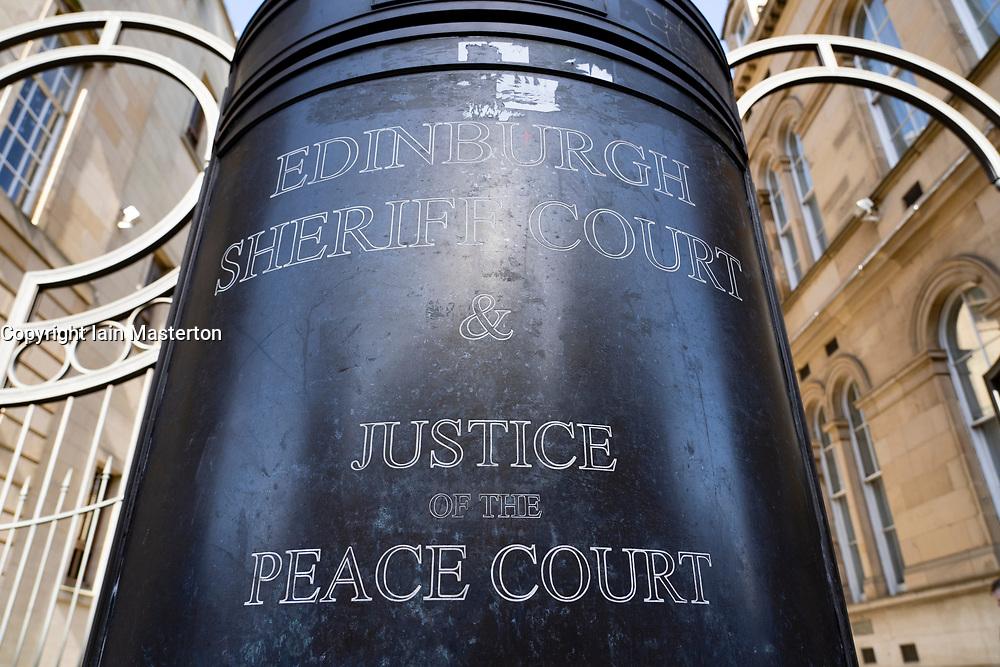 Detail outside Edinburgh Sheriff Court in Chambers Street Edinburgh, Scotland, UK