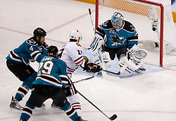 May 18, 2010; San Jose, CA, USA; Chicago Blackhawks center Jonathan Toews (19) shoots on San Jose Sharks goaltender Evgeni Nabokov (20) during the first period of game two of the western conference finals of the 2010 Stanley Cup Playoffs at HP Pavilion.  The Blackhawks defeated the Sharks 4-2. Mandatory Credit: Jason O. Watson / US PRESSWIRE