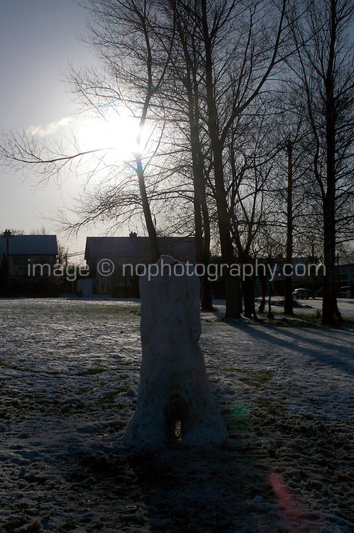 Headless snowman in suburban in Dublin Ireland