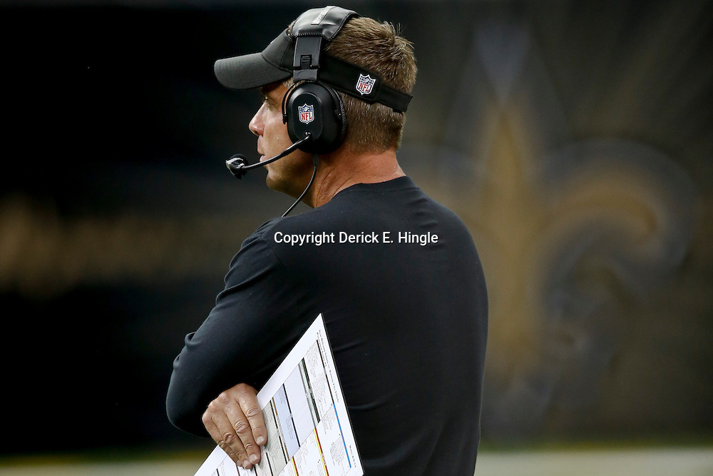 Aug 9, 2013; New Orleans, LA, USA; New Orleans Saints head coach Sean Payton against the Kansas City Chiefs during a preseason game at the Mercedes-Benz Superdome. The Saints defeated the Chiefs 17-13. Mandatory Credit: Derick E. Hingle-USA TODAY Sports
