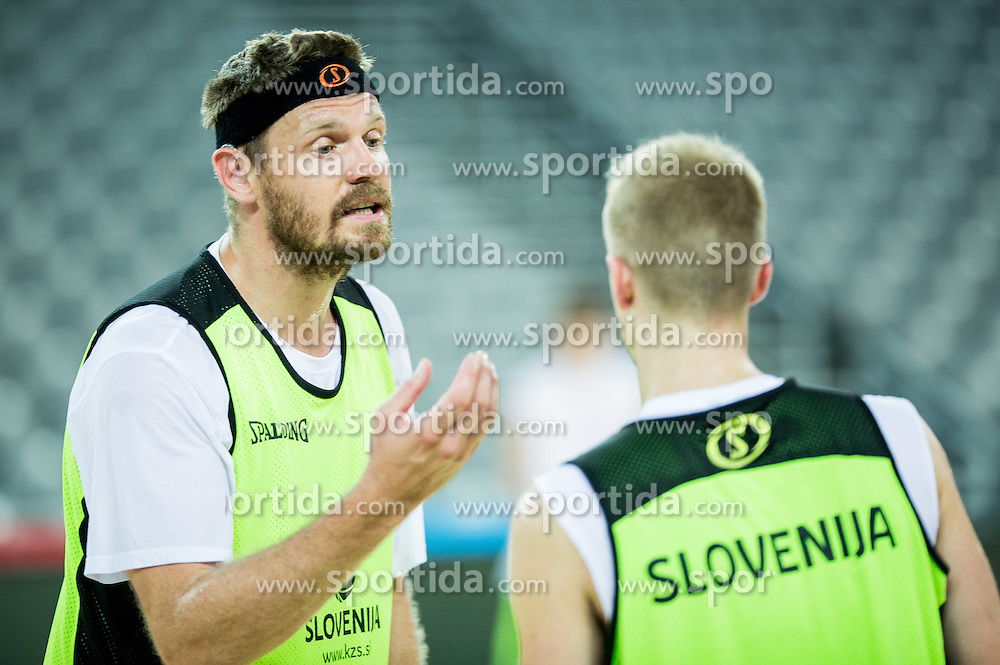 Miha Zupan and Luka Rupnik during practice session of Slovenia National Basketball Team 1 day prior to the FIBA Europe Eurobasket 2015, on September 4, 2015, in Arena Zagreb, Croatia. Photo by Vid Ponikvar / Sportida