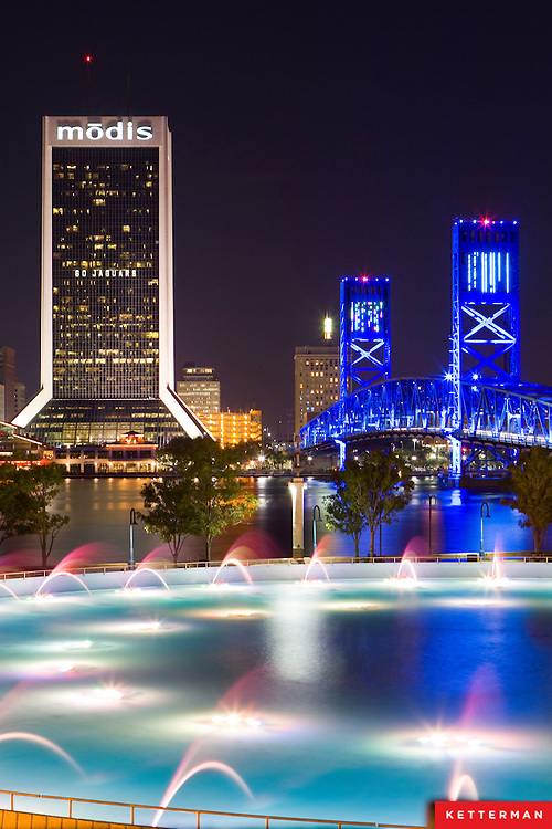 The skyline of downtown Jacksonville, Florida, as seen from the fountain on the south bank of the St. John's River.