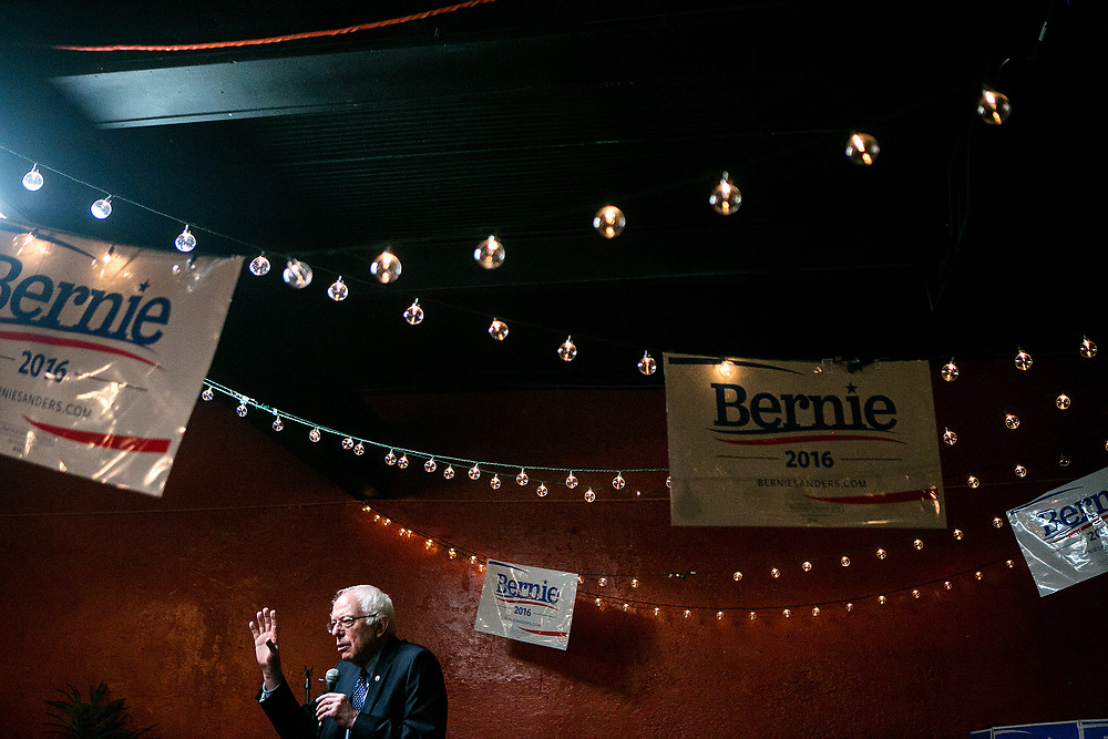 SUMTER, SC - FEBRUARY 22, 2016: Senator Bernie Sanders, a Democratic presidential candidate, speaks at a faith leaders breakfast at Serendipity Cafe in Sumter, South Carolina. CREDIT: Sam Hodgson for The New York Times.