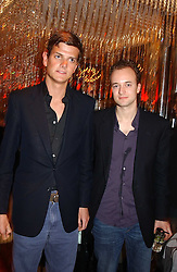 Left to right, the HON.ALEXANDER SPENCER-CHURCHILL and The MARQUESS OF BRISTOL at a night of Cuban Cocktails and Cabaret hosted by Edward Taylor and Charles Beamish at Floridita, 100 Wardour Street, London W1 on 14th April 2005.<br />