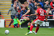Forest Green Rovers Matt Mills(5) clears the ball during the EFL Sky Bet League 2 match between Walsall and Forest Green Rovers at the Banks's Stadium, Walsall, England on 10 August 2019.