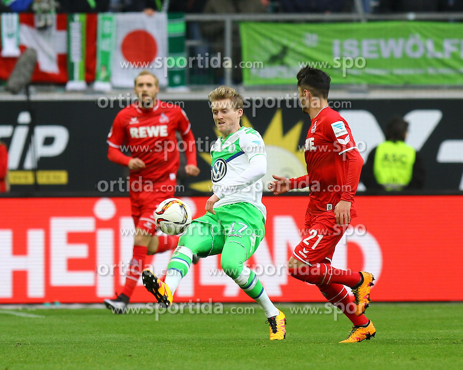 31.01.2016, Volkswagen Arena, Wolfsburg, GER, 1. FBL, VfL Wolfsburg vs 1. FC Koeln, 19. Runde, im Bild Andre Schuerle (#17, VfL Wolfsburg), Leonardo Bittencourt (#21, 1. FC Koeln) // during the German Bundesliga 19th round match between VfL Wolfsburg and 1. FC Koeln at the Volkswagen Arena in Wolfsburg, Germany on 2016/01/31. EXPA Pictures &copy; 2016, PhotoCredit: EXPA/ Eibner-Pressefoto/ Hundt<br /> <br /> *****ATTENTION - OUT of GER*****