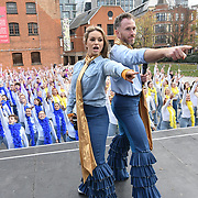 Strictly Come Dancing - James Jordan and Ola Jordan and Lucy Bardick is a Choreographer and casts Cassie Clare and Lukas Hunt join Mamma Mia! Here we go again hosts Guinness World Records largest disco dance at London Waterloo on 26 November 2018, London, UK