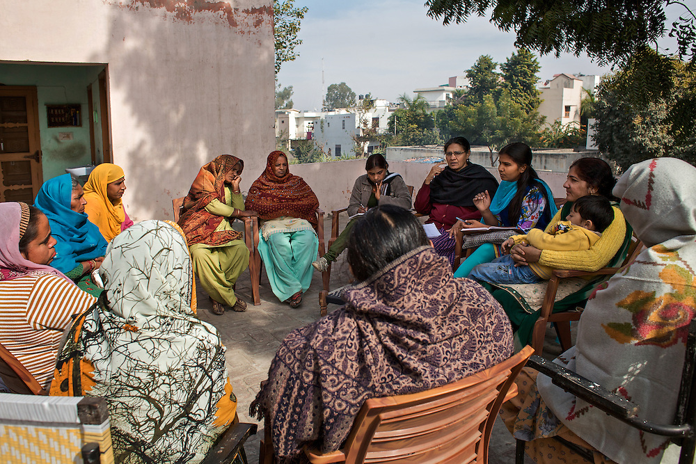 Jagmati Sangwan, president of AIDWA (All India Democratic Women's Association) and some activists are meeting women in the Haryana villages.