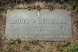 31 August 2017:   Veterans graves in Park Hill Cemetery in eastern McLean County.<br /> <br /> Luther W Detherage  Illinois Private  Co B 64 Field Artillery  World War I  July 10 1893  Nov 8 1961