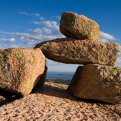 A rock cairn on Cadillac Mountain in Maine's Acadia National Park.  South Ridge Trail.