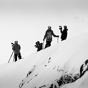 KGB Productions (L-R) Chris Kitchen, Eric Seymour, Andrew Whiteford, and David Cleeland filming in the backcountry of Jackson Hole Mountain Resort in Teton Village, Wyoming.
