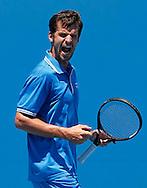 Australian Open 2012, Melbourne Park,ITF Grand Slam Tennis Tournament , Philipp Petzschner (GER) schreit, jubelt nach seinem Sieg, Einzelbild,.Halbkoerper,Hochformat,