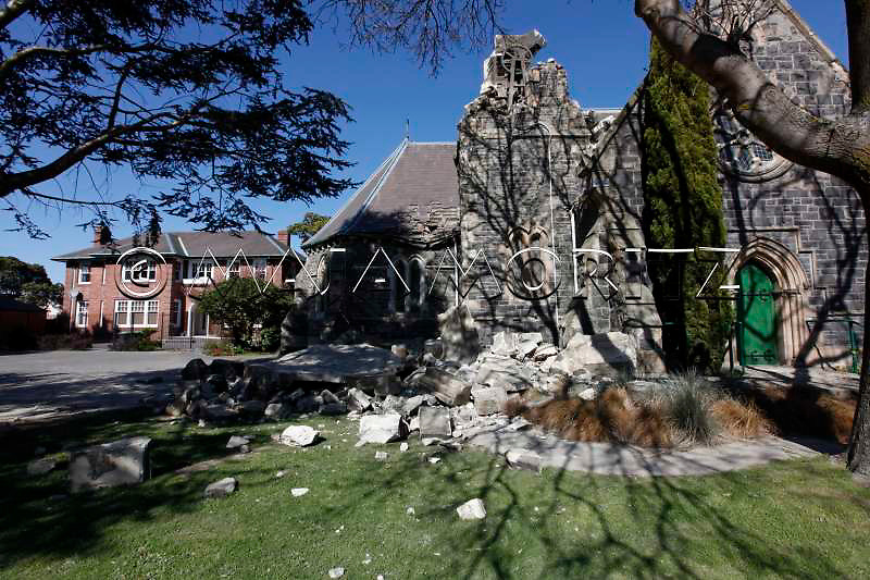 Earthquake damage to the historic Anglican Church St. John's, Latimer Square, Christchurch, New Zealand