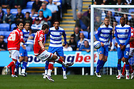 Adam Hammill (14) of Barnsley takes a free kick from just outside the Reading area during the Npower Championship match between Reading and Barnsley on Saturday 25th September 2010 at the Madejski Stadium, Reading, UK. (Photo by Andrew Tobin/Focus Images)