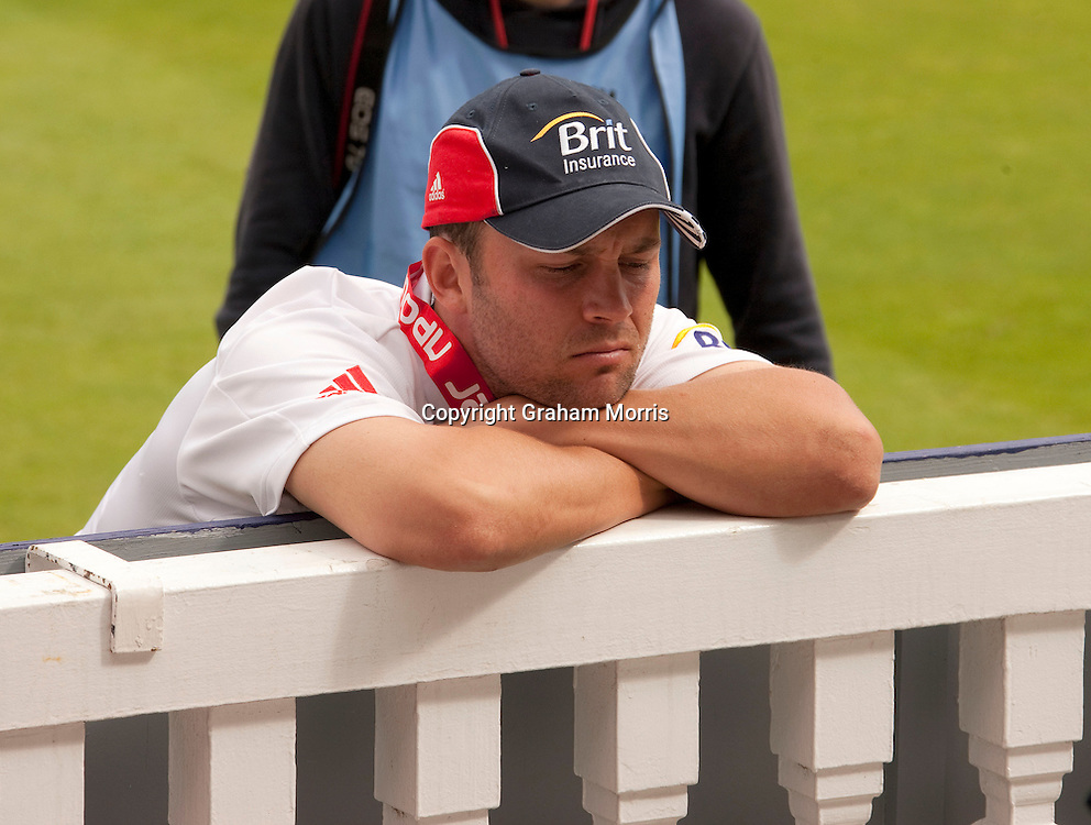 Glum looking England Man of the Series, Jonathan Trott, slumps on the pavilion fence after beating Pakistan in the final npower Test Match at Lord's.  Photo: Graham Morris (Tel: +44(0)20 8969 4192 Email: sales@cricketpix.com) 29/08/10