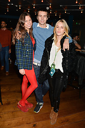 Left to right, ALICE BRINKLEY, NICHOLAS PALMER and LADY MARY CHARTERIS at the opening party of MODE nightclub, 12 Acklam Road, London on 4th April 2014.