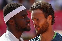 May 6, 2018 - Estoril, Estoril, Portugal - Joao Sousa from Portugal (R) and Frances Tiafoe from United States of America (L) during the match between Joao Sousa vs Frances Tiafoe for Millennium Estoril Open 2018 at Clube de Tenis do Estoril on May 06, 2018 in Estoril, Portugal. (Credit Image: © Dpi/NurPhoto via ZUMA Press)
