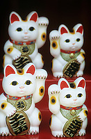 Chinese talisman cat figurines