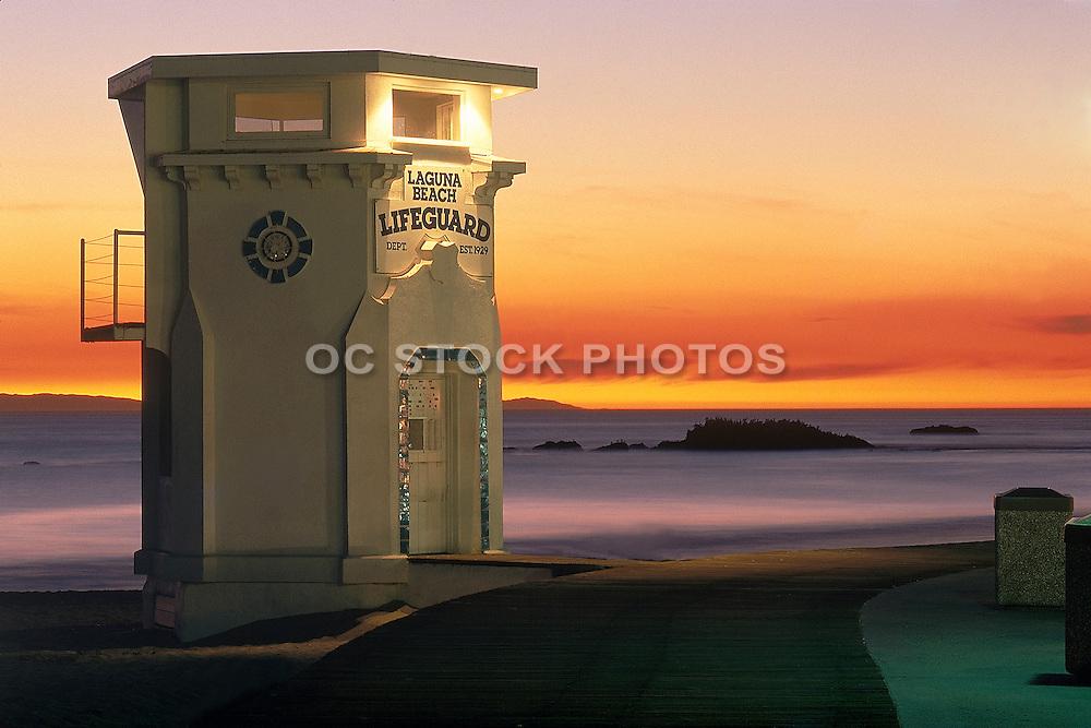 Laguna Beach Lifeguard Tower at Sunset