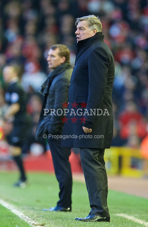 LIVERPOOL, ENGLAND - Saturday, January 31, 2015: West Ham United's manager Sam Allardyce and Liverpool's manager Brendan Rodgers during the Premier League match at Anfield. (Pic by David Rawcliffe/Propaganda)