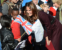Newcastle, UK: The Duchess of Cambridge visits Elswick Park, Newcastle, UK, on the 10th October 2012.