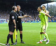 Beram Kayal of Brighton and Hove Albion appeals to the Linesman to rule out Fernando Forestieri goal during the Sky Bet Championship Playoff Semi Final First Leg at Hillsborough, Sheffield<br /> Picture by Richard Land/Focus Images Ltd +44 7713 507003<br /> 13/05/2016