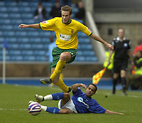 Photo: Matt Bright/Sportsbeat Images.<br /> Millwall v Hartlepool United. Coca Cola League 1. 03/11/2007.<br /> Andy Monkhouse of Hartlepool skips ove a challenge from Danny Senda of Millwall