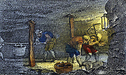 Underground scene in coal mine in the Newcastle-upon-Tyne area of England: Miners hewing coal and carrying it away in corves (baskets). From Rev. Isaac Taylor 'Scenes of British Wealth' London 1823. Engraving