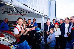 Dino Zamparelli entertains his sponsors | Bristol Sport Racing | #88 Porsche 911 GT3 Cup Car | Porsche Carrera Cup GB - Mandatory byline: Rogan Thomson/JMP - 07966 386802 - 27/09/2015 - MOTORSPORT - Silverstone Circuit - Towcester, England - BTCC Meeting Day 2.