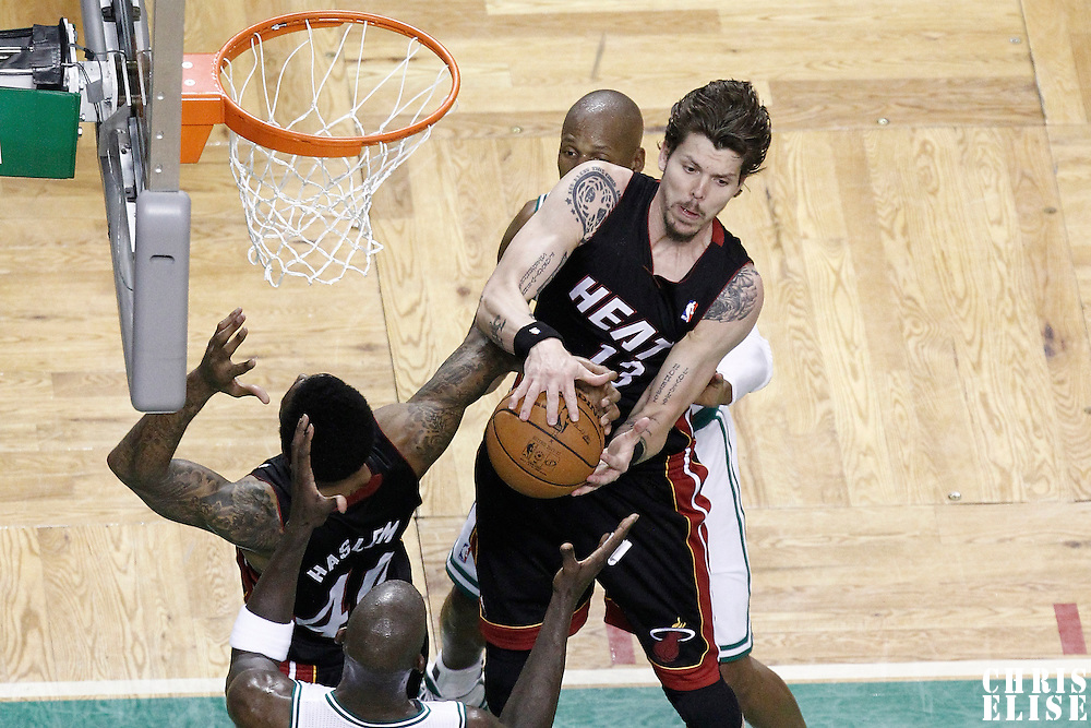 03 June 2012: Miami Heat shooting guard Mike Miller (13) grabs a defensive rebound during the second quarter of Game 4 of the Eastern Conference Finals playoff series, Heat at Celtics, at the TD Banknorth Garden, Boston, Massachusetts, USA.