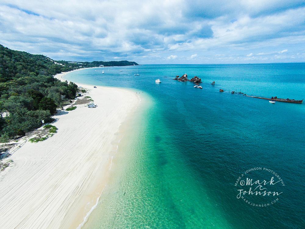 Aerial photograph of The Wrecks, Tangalooma, Moreton Island, Queensland, Australia