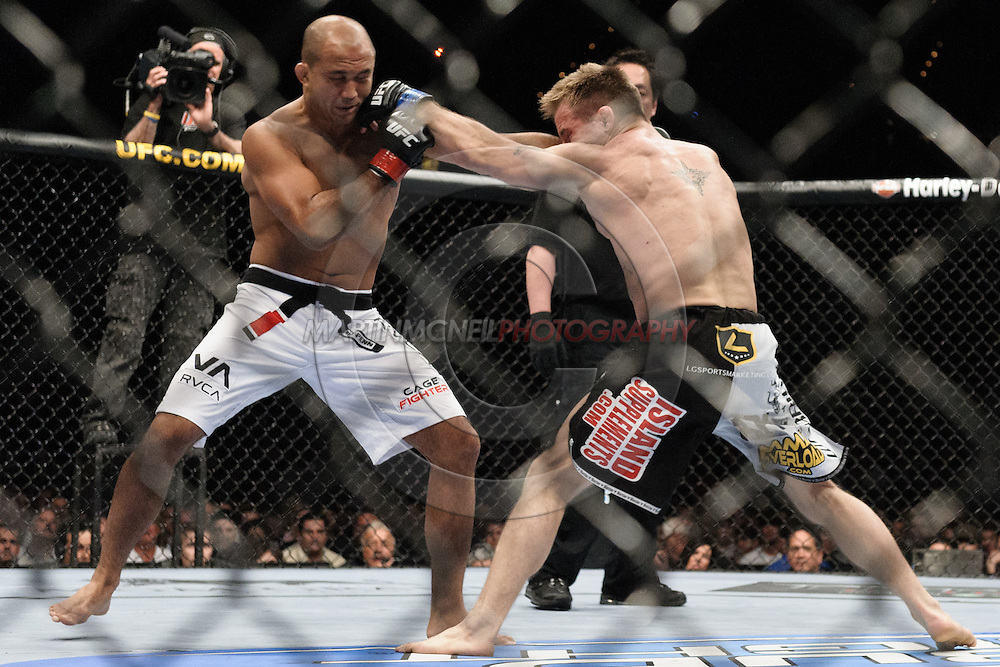 "LAS VEGAS, NEVADA, MAY 24, 2008: BJ Penn (left) is clipped by a right jab from Sean Sherk during ""UFC 84: Ill Will"" inside the MGM Grand Garden Arena in Las Vegas"