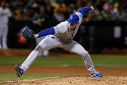 OAKLAND, CA - SEPTEMBER 16: Tim Hill #54 of the Kansas City Royals pitches against the Oakland Athletics during the fifth inning at the RingCentral Coliseum on September 16, 2019 in Oakland, California. The Kansas City Royals defeated the Oakland Athletics 6-5. (Photo by Jason O. Watson/Getty Images) *** Local Caption *** Tim Hill