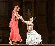 La Bayad&egrave;re<br /> The Mariinsky Ballet <br /> at The Royal Opera House, London, Great Britain <br /> rehearsal <br /> 11th August 2011 <br /> <br /> Uliana Lopatkina (as Nikiya, a bayadere)<br /> Anastasia Kolegova (as Gamzatti)<br /> <br /> Photograph by Elliott Franks