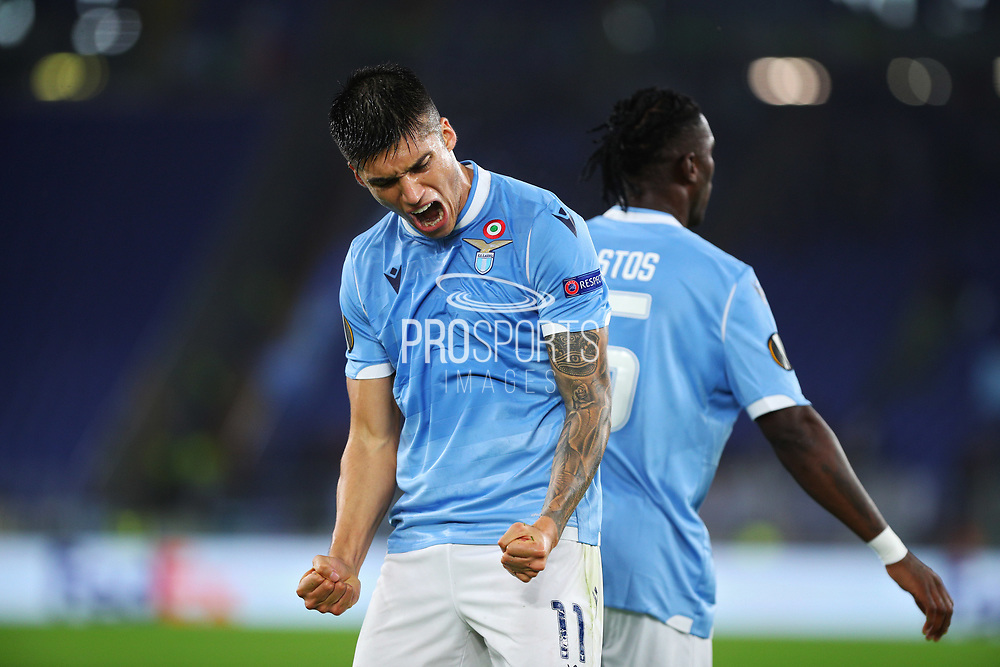 Joaquin Correa of Lazio celebrates after scoring 1-0 goal during the UEFA Europa League, Group E football match between SS Lazio and CFR Cluj on November 28, 2019 at Stadio Olimpico in Rome, Italy - Photo Federico Proietti / ProSportsImages / DPPI