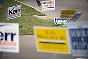 """""""Vote Here"""" signs direct voters to a polling station for Super Tuesday on March 1, 2016 in Fort Worth, Texas.  (Cooper Neill for The New York Times)"""