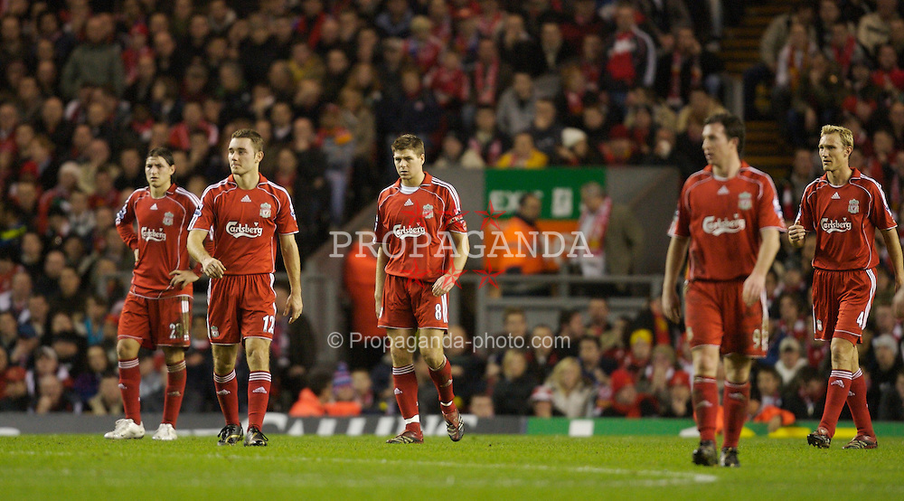 Liverpool, England - Tuesday, January 9, 2007: Liverpool's Gabriel Paletta, Fabio Aurelio, Steven Gerrard, Robbie Fowler and Sami Hyypia look dejected after Arsenal's second goal during the League Cup Quarter-Final match at Anfield. (Pic by David Rawcliffe/Propaganda)
