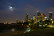 Downtown, Houston, skyline, full moon, Buffalo Bayou Park, Allen Parkway, Texas.