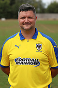 AFC Wimbledon first team coach Simon Bassey during the AFC Wimbledon 2018/19 official photocall at the Kings Sports Ground, New Malden, United Kingdom on 31 July 2018. Picture by Matthew Redman.