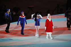February 25, 2018 - Pyeongchang, KOREA - Women's 30km cross-country mass start classic medalists Marit Bjoergen (NOR) wins gold, Krista Parmakoski (FIN) wins silver, and Stina Nilsson (SWE) wins bronze during the closing ceremony for the Pyeongchang 2018 Olympic Winter Games at Pyeongchang Olympic Stadium. (Credit Image: © David McIntyre via ZUMA Wire)