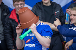 Cove fans before the game. Cove Rangers have become the SPFL's newest side and ended Berwick Rangers' 68-year stay in Scotland's senior leagues by earning a League Two place. Berwick Rangers 0 v 3 Cove Rangers, League Two Play-Off Second Leg played 18/5/2019 at Berwick Rangers Stadium Shielfield Park.