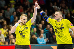 Niko Medved of RK Gorenje Velenje and Zarko Pejovic of RK Gorenje Velenje during handball match between RK Gorenje Velenje and Kadetten Schaffhausen in VELUX EHF Champions League, on November 25, 2017 in Rdeca Dvorana, Velenje, Slovenia. Photo by Ziga Zupan / Sportida