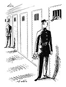 (A prison guard passes a cell as a prisoner pokes a christmas cracker through the bars on his door)