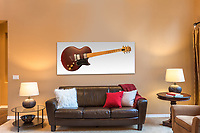 Front room with 17&quot; x 40&quot; Wall Art.<br /> Gibson L6-MS guitar.