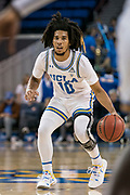 UCLA Bruins guard Tyger Campbell (10) against the San Jose State Spartans during an NCAA college basketball game, Sunday, Dec. 1, 2019, in Los Angeles. UCLA defeated San Jose State 93-64. (Jon Endow/Image of Sport)